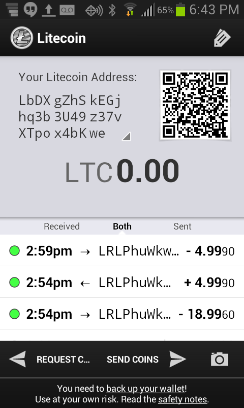 Litecoin Wallet- screenshot