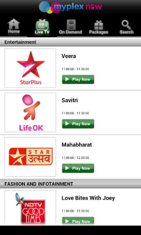 myplex now TV, Live Mobile TV - screenshot