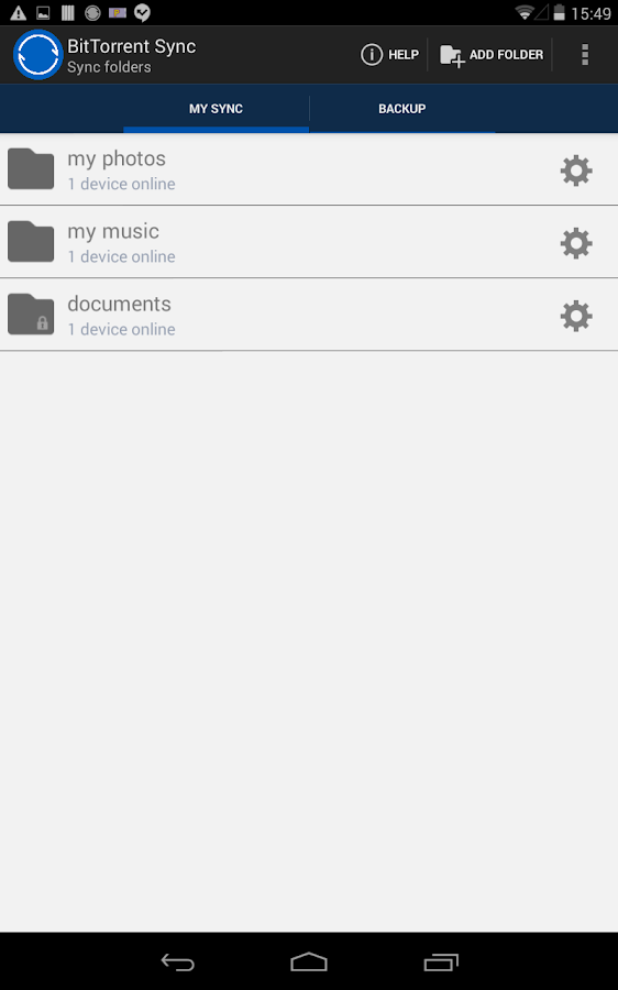 BitTorrent® Sync - screenshot