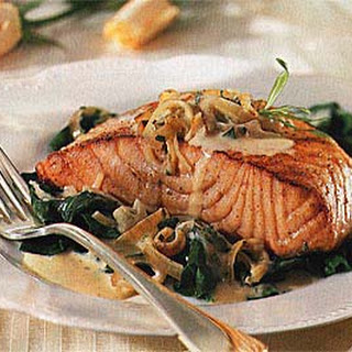 Seared Salmon on Baby Spinach.