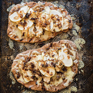 Chicken and Apple Flatbread with Caramelized Shallots.