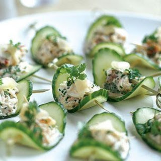 Cucumbers with Pickled Ginger and Crab.