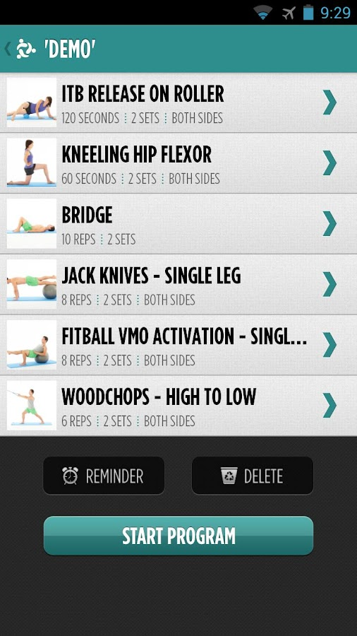 MyPhysio App- screenshot