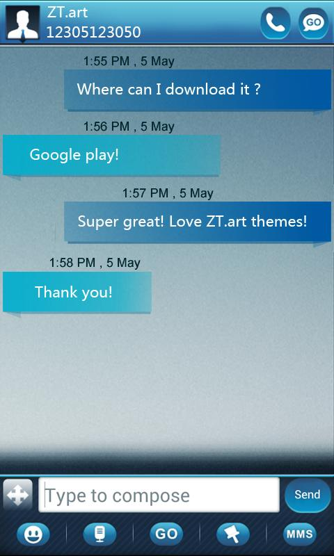 GO SMS Pro GlassBox Theme - screenshot