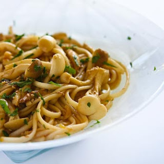 Noodles with Mushrooms and Lemon Ginger Dressing.