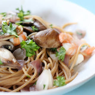 Linguine with Shrimp, and Baby Portabellos in Wine Sauce.