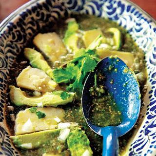 Salsa de Albañil (Tomatillo Salsa with Avocado and Queso Fresco).