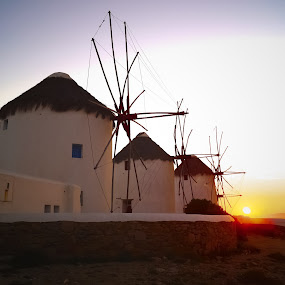 Famous Mykonos Windmills by Kyle Kephart - Buildings & Architecture Other Exteriors ( greek, sunset, beautiful, greece, travel, windmills, stunning )