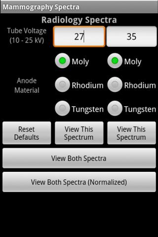 Mammography Spectra - screenshot