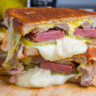 Corned Beef Cuban Grilled Cheese Sandwich.
