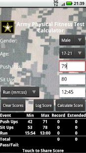 APFT Calculator w/ Score Log- screenshot thumbnail