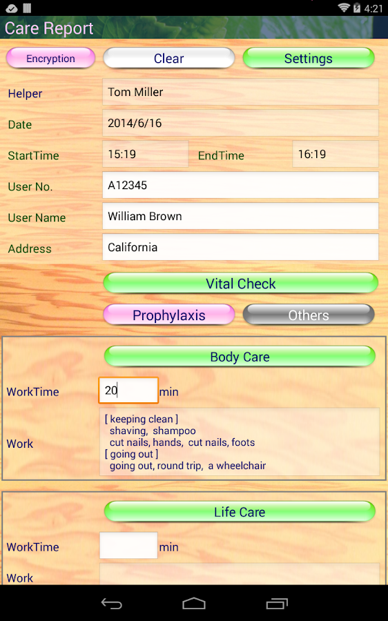 Care Report for Home Helpers- screenshot