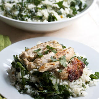 The Best Indoor Grilled Chicken with Kale-Rice Salad.