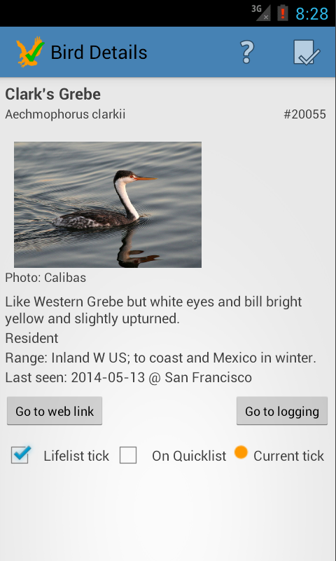 US Birding Checklist- screenshot