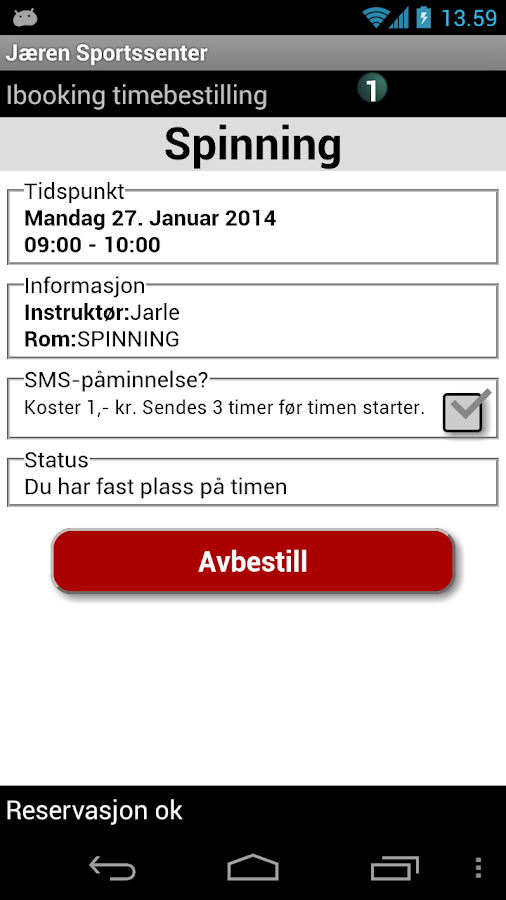 Jærens Sportssenter- screenshot