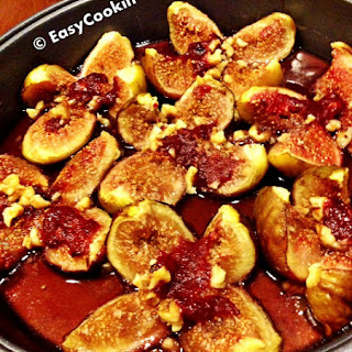 Baked Fresh Figs with Rasberry and Walnuts