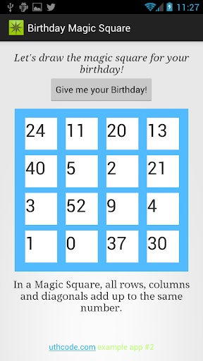 Birthday Magic Square