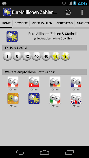 EuroMillions Nos. Statistics