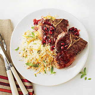 Pan-seared Lamb Chops with Pomegranate Sauce.