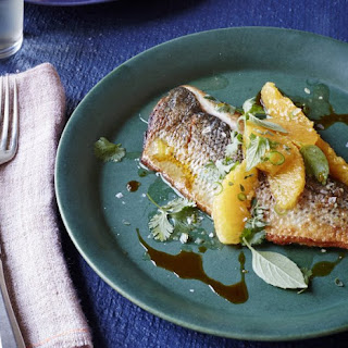 Black Bass With Oranges And Ancho Chile Oil.