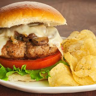 Sherry-Braised Turkey and Mushroom Burgers.