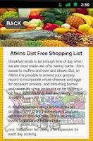 Screenshot of Atkins Diet Free Shopping List