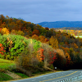 Fall Colors In The Back Mountain by Gene Walls - Landscapes Weather ( clouds, hills, mountain, highway, pennsylvania, road, leaves, sunlight, rt118, pa, autumn, fall, snow,  )