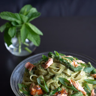 Asparagus, Pea & Mint Fettuccine with Smoked Trout.