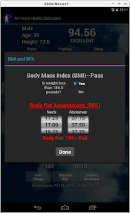 Air Force Health PT Test Calc - screenshot thumbnail