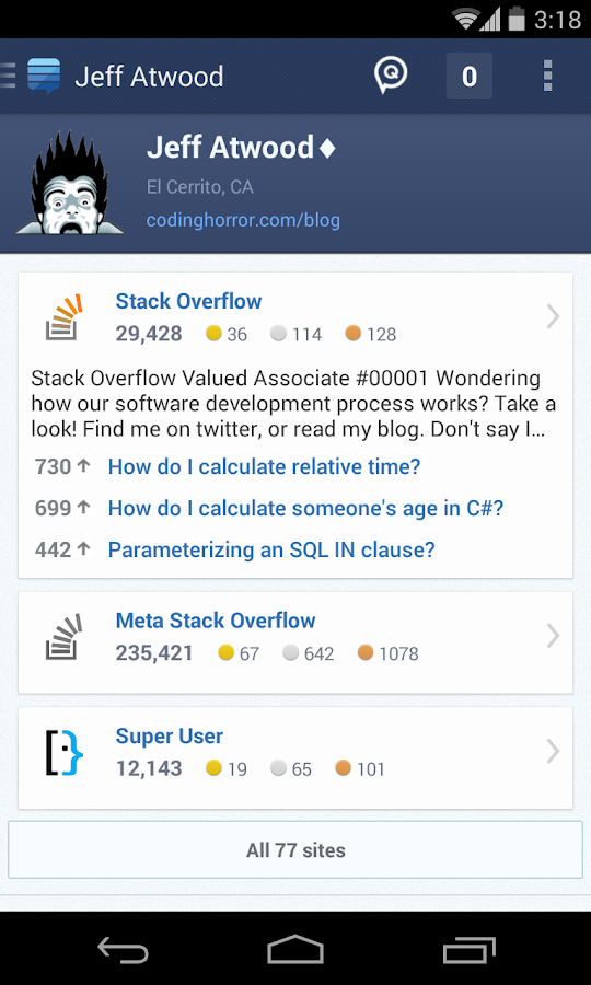 Stack Exchange - screenshot