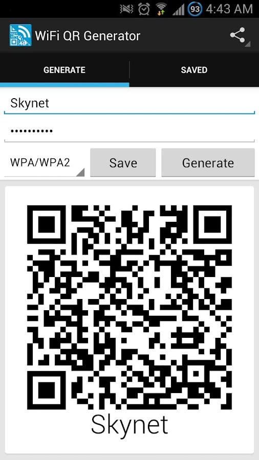Wifi QR Code Generator - screenshot