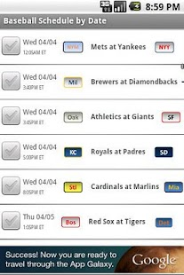 Baseball Schedule 2014 - screenshot thumbnail