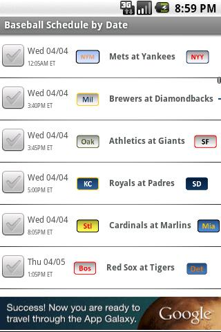 Baseball Schedule 2014 - screenshot