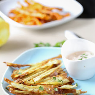 Cumin Spiced Carrot & Parsnip Chips with Spicy Harissa Yogurt Dip