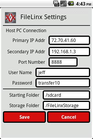FileLinx 3G Print or Transfer - screenshot