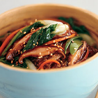 Sweet Potato Noodle Stir-Fry with Choy Sum and Shiitake Mushrooms.