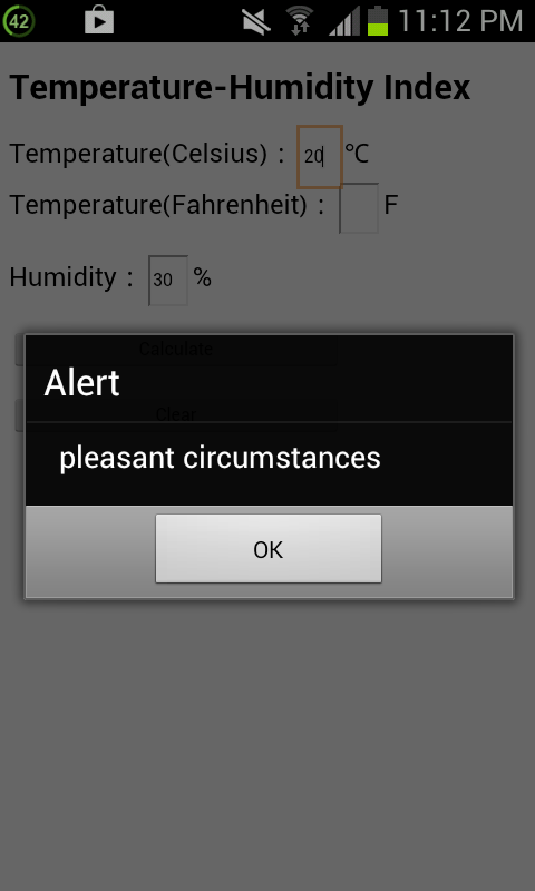 Temperature-Humidity Index - screenshot