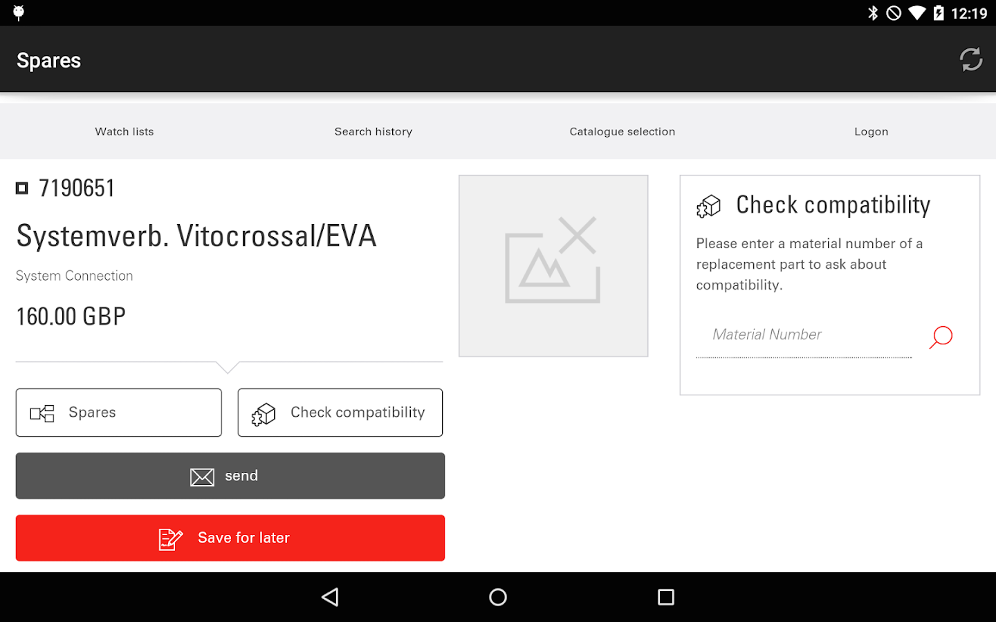 Viessmann Spare Part App- screenshot