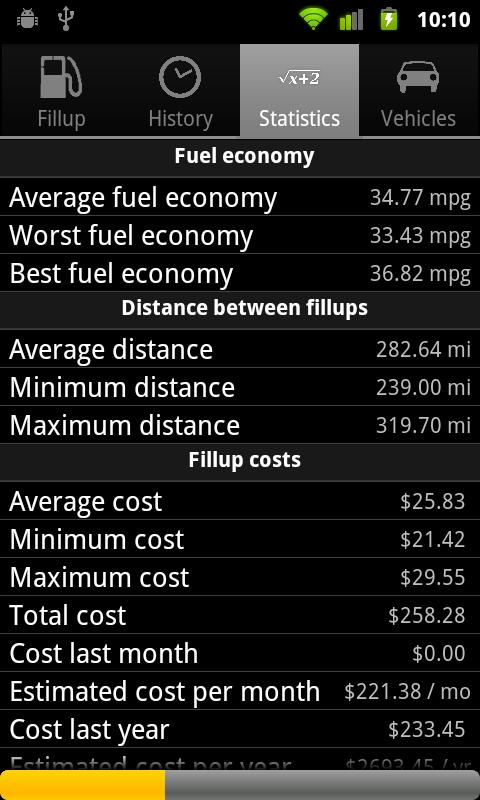 Mileage- screenshot