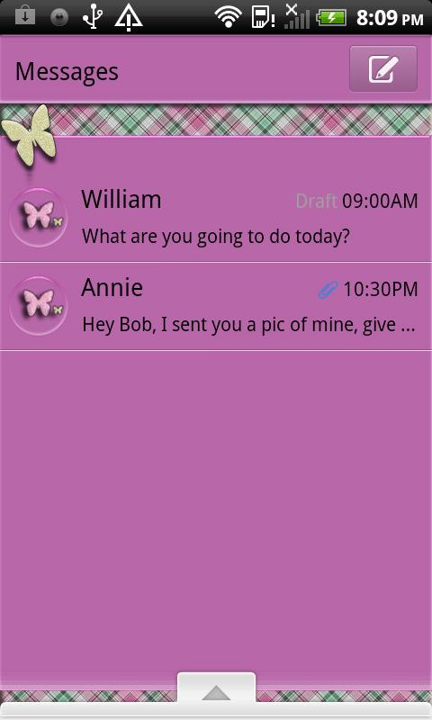 GO SMS THEME/PlaidButterflys4 - screenshot