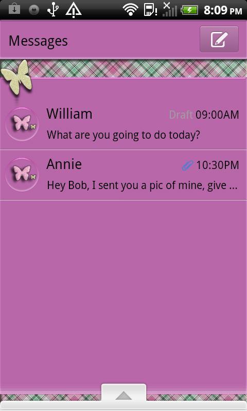 GO SMS THEME/PlaidButterflys4 - screenshot