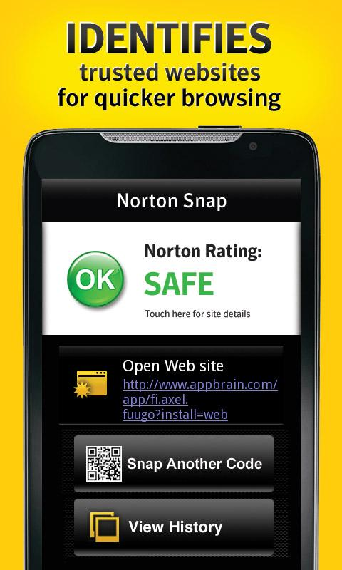Norton Snap qr code reader- screenshot