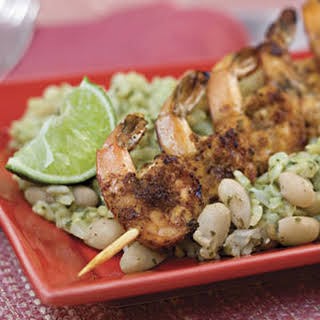Chili-and-Lime Grilled Shrimp With Seasoned White Beans and Rice.