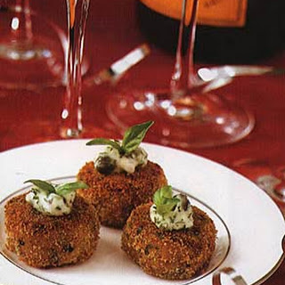 Broiled Crab Cakes with Chive and Caper Sauce