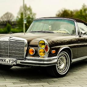 Mercedes-Benz 280SE Cabriolet 1970  by Titus Criste - Transportation Automobiles ( 1970, cabriolet, classic car, vintage, mercedes museum, germany, nikon, p500, mercedes, , land, device, transportation, vertical lines, pwc )