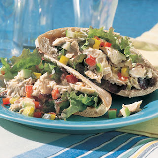Tuna, Pickle, and Chopped-Vegetable Pita Sandwiches.