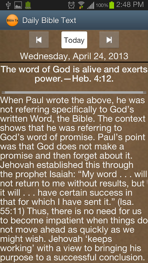 JW Daily Bible Text - screenshot