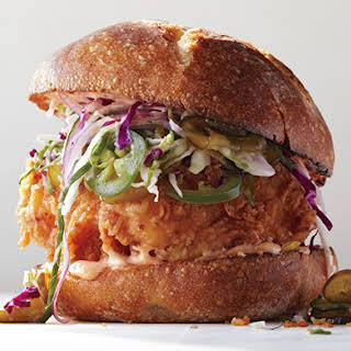 Fried Chicken Sandwich with Slaw and Spicy Mayo.