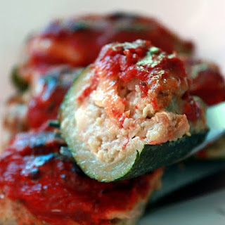 Meat-filled Zucchini in a Tomato Sauce.