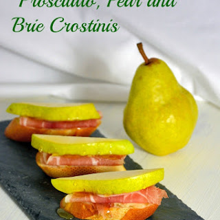 Prosciutto, Pear and Brie Crostinis